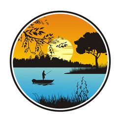 Fishing lake outdoor vector