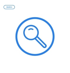 Flat bold line magnifier vector