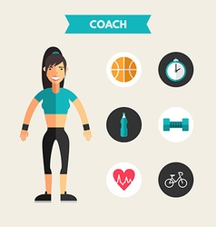 Flat Design of Coach with Icon Set Infographic vector image