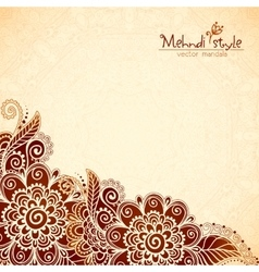 Floral vintage ethnic background in Indian mehndi vector image