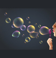 Girl blowing soap bubbles vector