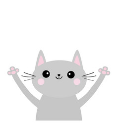 gray cat silhouette head and hands up cute vector image