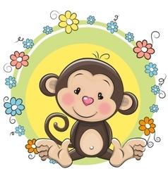 Greeting card cute Monkey vector