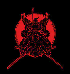 group of samurai ready to fight action vector image