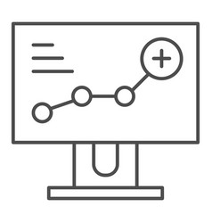 growth chart on monitor thin line icon diagram on vector image