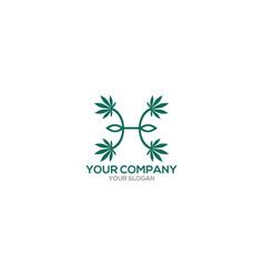 H marijuana logo design vector