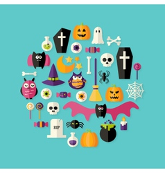 Halloween Flat Icons Set Over Blue vector image