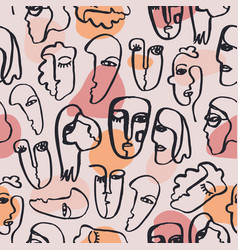 Hand dawn faces seamless pattern ink vector