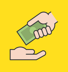 hand giving dollar bank money vector image