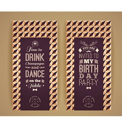 Happy birthday invitation vintage retro background vector
