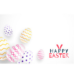 happy easter festival 3d realistic eggs design vector image