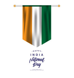 Happy india national day template design vector