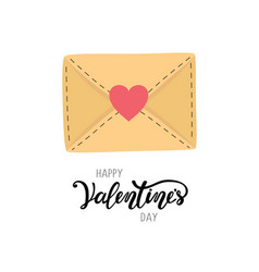 Happy valentine s day greeting letter envelope vector