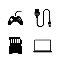 hardware computer parts simple related icons vector image