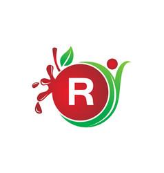 Health fruit juice initial r vector