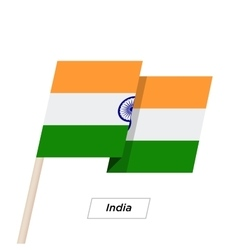India Ribbon Waving Flag Isolated on White vector image