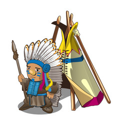 Indian tent or wigwam teepee and indian man with vector