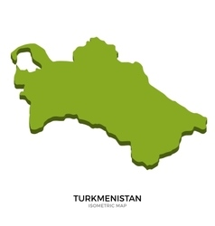 Isometric map of Turkmenistan detailed vector image