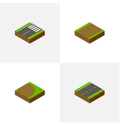 Isometric road set of driveway footpath rotation vector