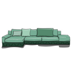 large gray-green sofa with pillows in shades of vector image