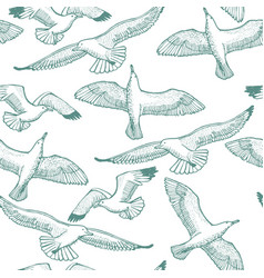 Light seagull seamless hand drawn pattern vector