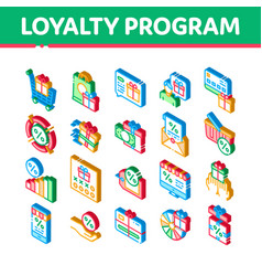Loyalty program for customer isometric icons set vector