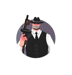 Mafia gangster with machine gun vector