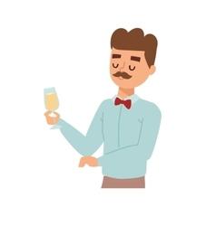 Man wine glass vector