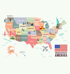 map united states america with famous vector image