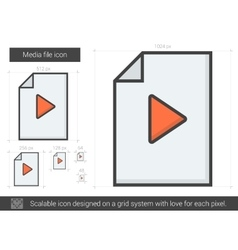 Media file line icon vector