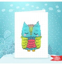 Merry Christmas greeting card with an owl vector