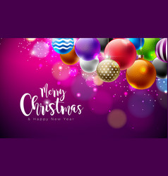 merry christmas with multicolor vector image