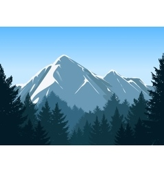 Mountains with pine forest background vector