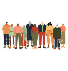 Multi ethnic people group persons in casual vector