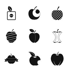 Natural apple icon set simple style vector