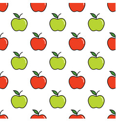 Pattern with red and green apples vector