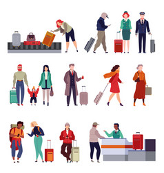 people with luggage travelling couple holding vector image