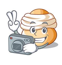 Photographer semla swedish cream bun on cartoon vector
