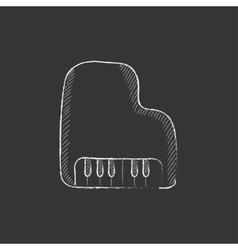 Piano Drawn in chalk icon vector image