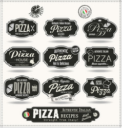 Pizza badges and labels retro black collection vector