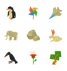 polygon icons set cartoon style vector image