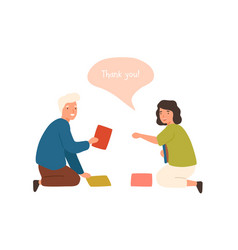positive cartoon old man help smiling female to vector image