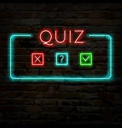 Quiz neon logo symbol 1 vector