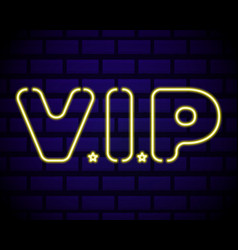 realistic isolated neon sign vip lettering for vector image