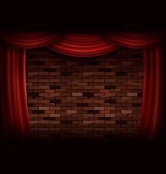 Red curtains or velvet drapes vector
