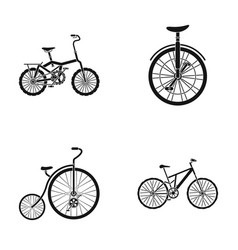 Retro unicycle and other kindsdifferent bicycles vector