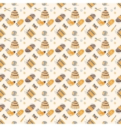 Seamless pattern on a knitting theme brown things vector image