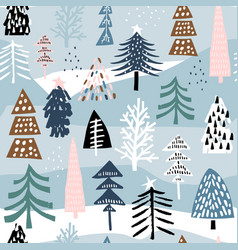 seamless winter pattern with colorful christmas vector image