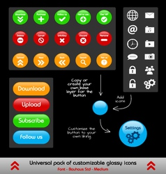Set of customizable web and phone app buttons vector