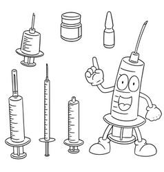 set of injection medicine vector image